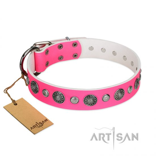 """Glamorous Shine"" FDT Artisan Stylish Leather Rottweiler Collar with Old Silver-like Plated Decorations"