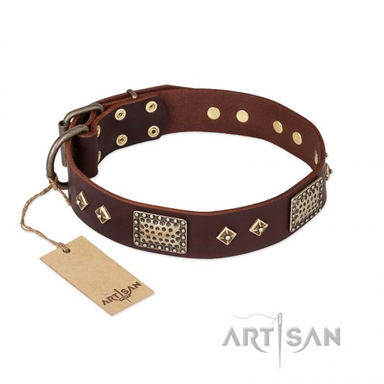 FDT Artisan 'Loving Owner' Decorated Leather Rottweiler Dog Collar with Plates and Studs 1 1/2 inch (40 mm)