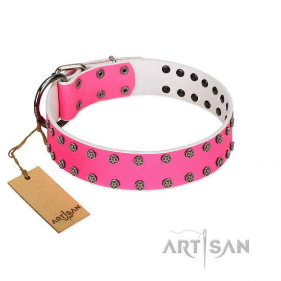 """Pink Fashion"" Designer FDT Artisan Pink Leather Rottweiler Collar with Silver-Like Studs"