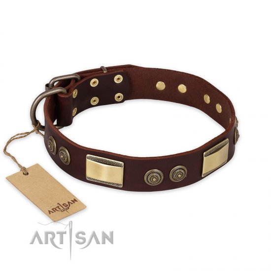 """Golden Stones"" FDT Artisan Brown Leather Rottweiler Collar with Chic Decorations - 1 1/2 inch (40 mm) wide"