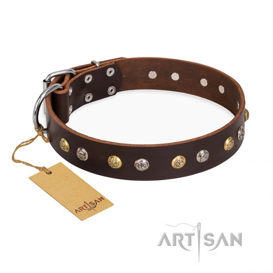 'Rare Flower' FDT Artisan Brown Leather Rottweiler Collar