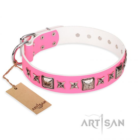 """Lady in Pink"" FDT Artisan Glamorous Leather Rottweiler Collar with Silvery Studs"