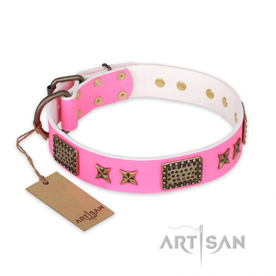 'Tender Pink' FDT Artisan Rottweiler Leather Dog Collar with Old Bronze Look Stars and Plates - 1 1/2 inch (40 mm) wide