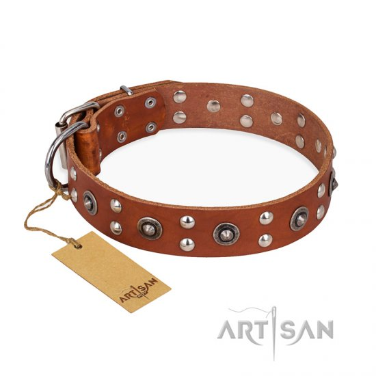 'Silver Elegance' FDT Artisan Leather Tan Rottweiler Collar with Old Silver-Like Plated Studs and Cones 1 1/2 inch (40 mm) Wide