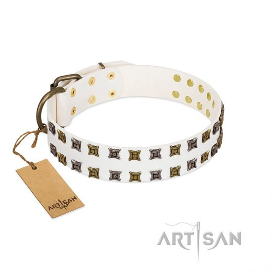 """Ice Peak"" FDT Artisan White Leather Rottweiler Collar with Silvery and Goldish Decorations"
