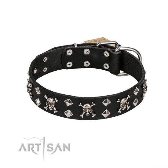 FDT Artisan 'Rock 'n' Roll Style' Leather Rottweiller Collar with Skulls, Bones and Studs 1 1/2 inch (40 mm) wide