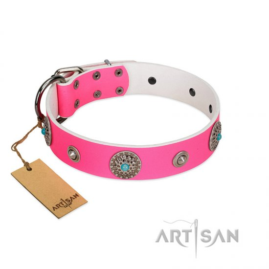 """Chili Mood"" Designer Handmade FDT Artisan Pink Leather Rottweiler Collar"