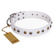'Snowflake' FDT Artisan White Leather Rottweiler Collar with Decorations