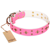 'Chi-Chi Pink Rose' FDT Artisan Leather Rottweiler Collar with Decorations
