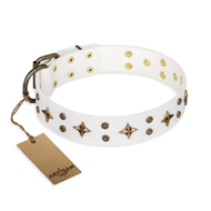 """Bright stars"" FDT Artisan White Leather Rottweiler Collar for Walking in Style"
