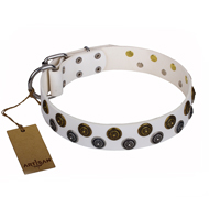 """Snowflake"" FDT Artisan White Leather Rottweiler Collar with Sparkling Circles"