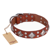 """Magic Squares"" FDT Artisan Lordly Tan Leather Rottweiler Collar"