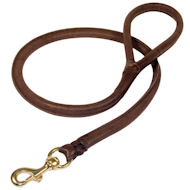Natural Rolled Leather Dog Leash for Rottweiler