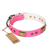 'Pink Dreams' FDT Artisan Rottweiler Leather Dog Collar with Adornments 1 1/2 inch (40 mm) wide
