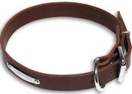 Luxury leather Rottweiler brown dog collar -C456