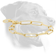 Brass Rottweiler Choke Collar for Behavior Correction, 1/6 inch (4 mm) Link Diameter