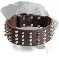 Wide Rottweiler Leather Collar with Spikes and Pyramids