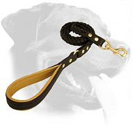 Braided Handcrafted Leather Leash for Rottweiler