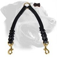 Braided Leather Rottweiler Coupler Leash for Walking 2 Dogs