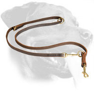Short Leather Rottweiler Leash with Braided Decoration