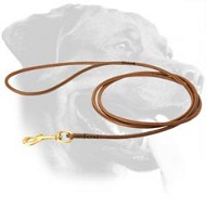 Handcrafted Round Leather Rottweiler Leash for Dog Shows