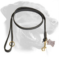Leather Rottweiler Leash with Brass Snap Hook