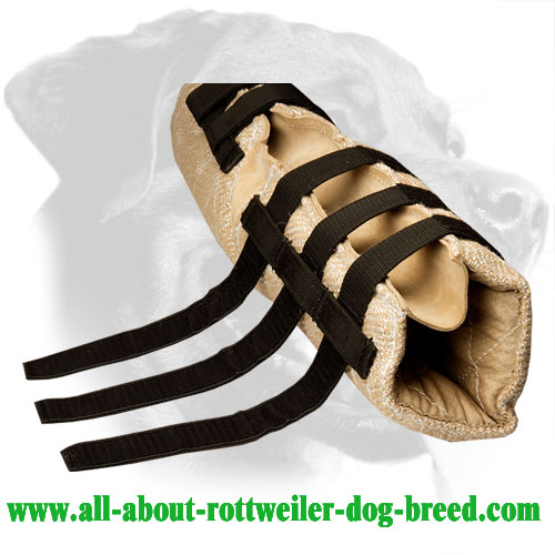 Velcro straps Jute dog hidden protection sleeve for Rottweiler bite training
