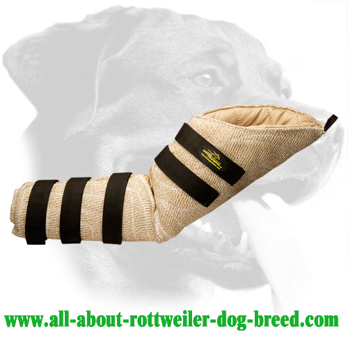 Rottweiler convenient Jute hidden protection bite sleeve for training