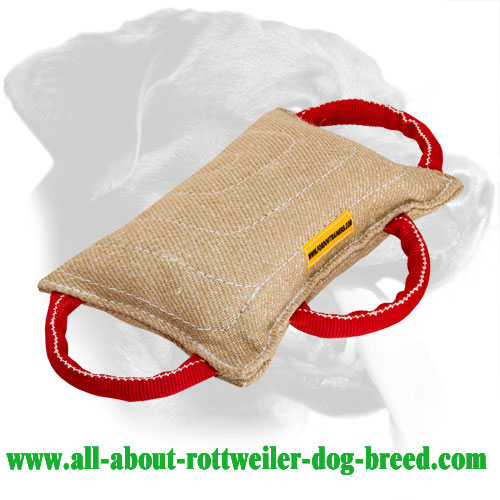 Jute Rottweiler Bite Pad Equipped with Three Handles