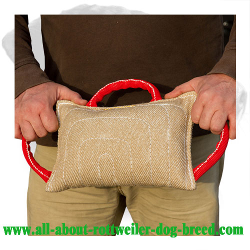 Rottweiler Bite Pad with Three Handles Made of Jute