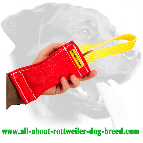 French Linen Rottweiler Bite Tug with Stitched Handle