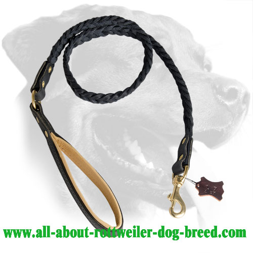 Hand crafted Rottweiler Leather Dog Leash