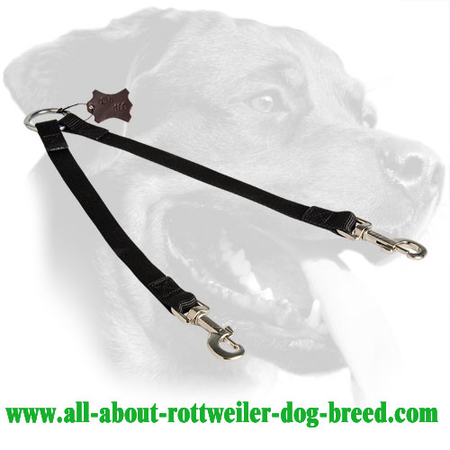 Nylon Rottweiler Coupler Equipped with Two Nickel Snap Hooks