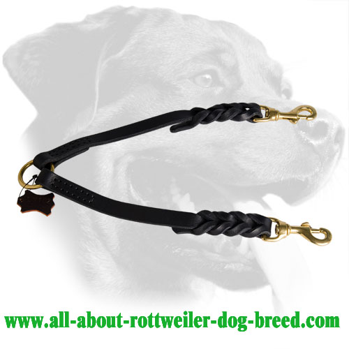 Reliable Braided Leather Rottweiler Coupler Leash for Walking Two Dogs