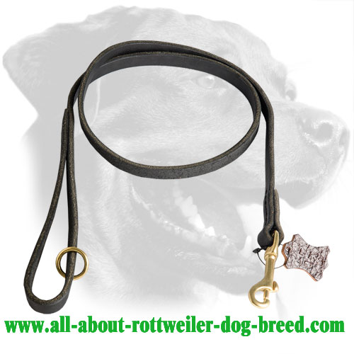 Leather Rottweiler Leash Equipped with Brass Snap Hook