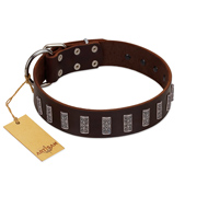 """Brown Lace"" Handmade FDT Artisan Brown Leather Rottweiler Collar for Everyday Walks"