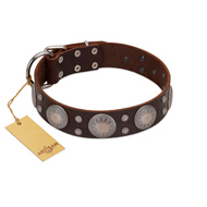 """Imperial Legate"" FDT Artisan Brown Leather Rottweiler Collar with Big Round Plates"