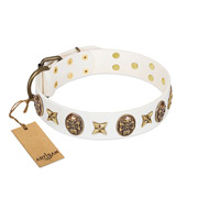 """Fads and Fancies"" FDT Artisan White Leather Rottweiler Collar with Stars and Skulls"