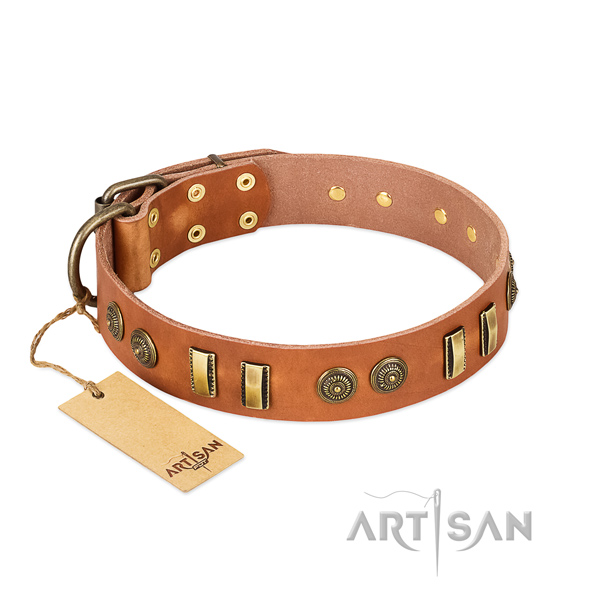 Strong hardware on full grain leather dog collar for your dog