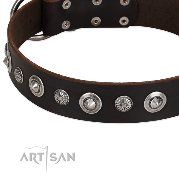 Extraordinary embellished dog collar of top quality full grain genuine leather