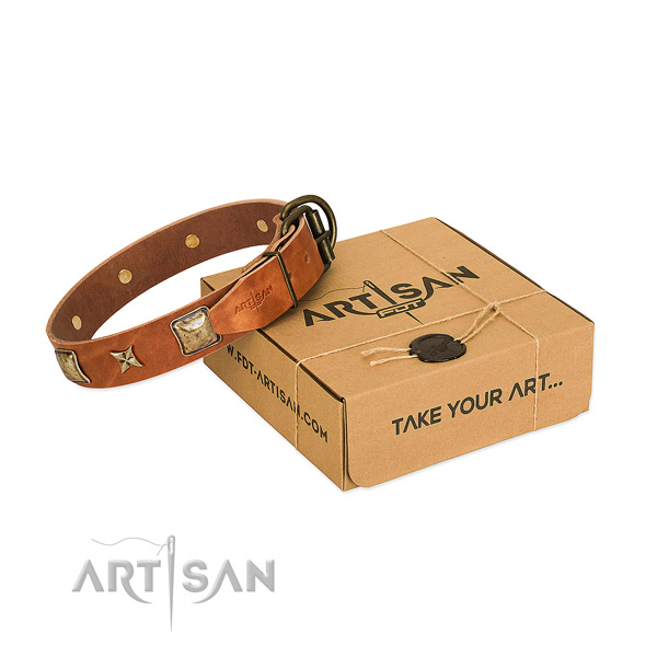 Amazing natural genuine leather collar for your beautiful canine