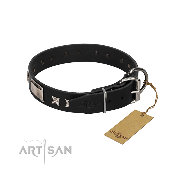 Top notch full grain genuine leather dog collar with reliable hardware