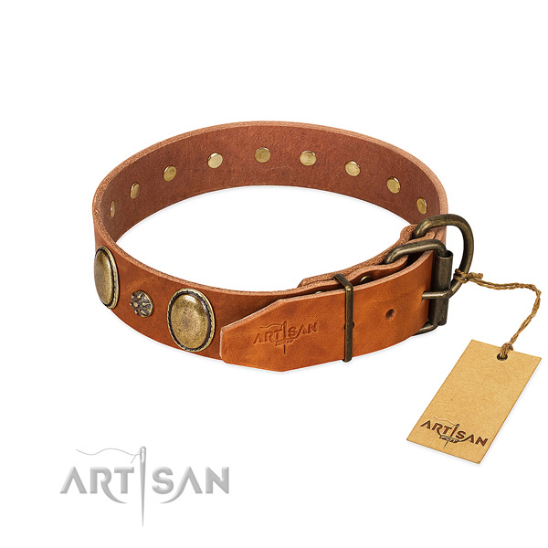Daily use gentle to touch genuine leather dog collar