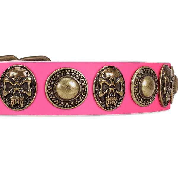 Corrosion resistant D-ring on genuine leather dog collar for your four-legged friend
