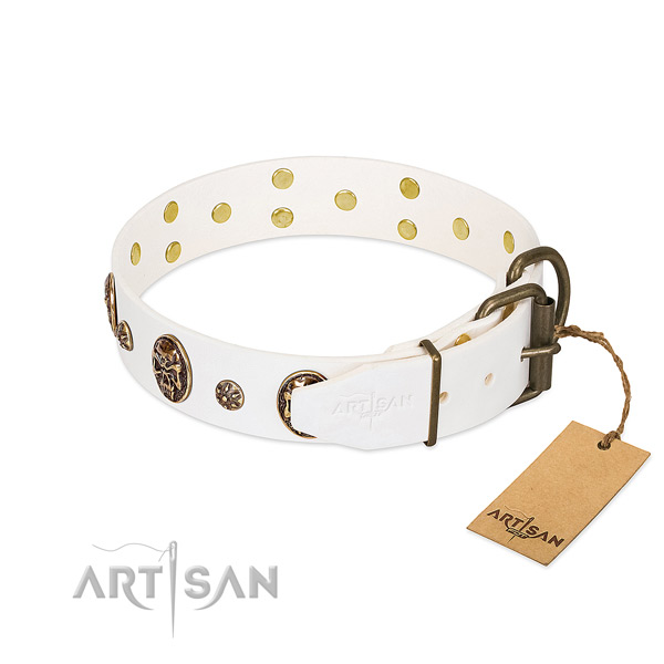 Rust resistant adornments on full grain natural leather dog collar for your dog