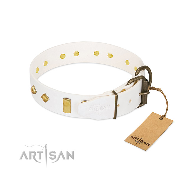 Soft to touch full grain natural leather dog collar with rust resistant fittings