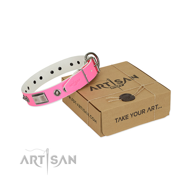Exquisite full grain genuine leather collar with studs for your pet