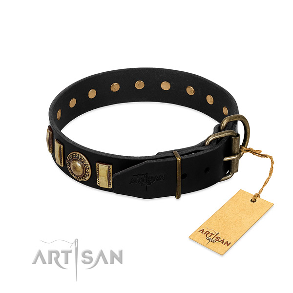 Soft to touch leather dog collar with studs