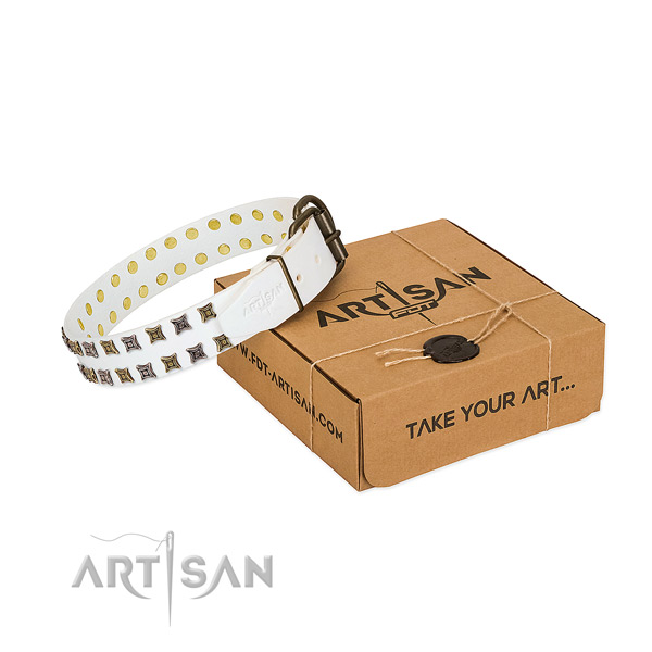 Gentle to touch full grain natural leather dog collar handmade for your four-legged friend
