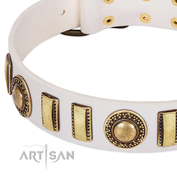 Top rate natural leather dog collar with durable buckle
